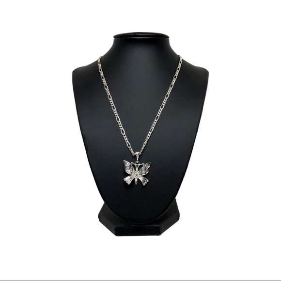 925 Sterling Silver Figaro Chain & Butterfly Pend
